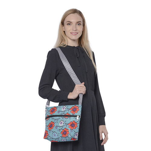 Canvas Crossbody Bag in Red and Blue Floral Pattern with Adjustable Shoulder Strap