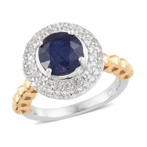 Fissure Filled Blue Sapphire (Rnd 2.70 Ct), Natural Cambodian Zircon Ring in Platinum and Yellow Gol