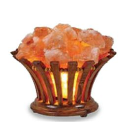 Himalayan Salt Chunks Lamp with Wooden Barrel Shape Basket (Size 10.5x13 Cm) - Pink 3.5 Kg (7.7 Lbs)