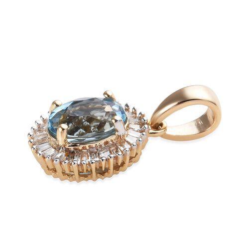 9K Yellow Gold AA Santa Maria Aquamarine (Ovl 7x5mm), Diamond Pendant 1.00 Ct.