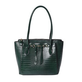 Solid Dark Green Textured Tote Bag with Hanging Ornaments and Magnetic Closure (39x14.5x30cm)