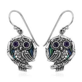 Bali Legacy Shell and Amethyst Hook Earrings in Sterling Silver 6.50 Grams