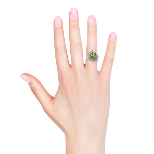 Very Rare Size Manchurian Peridot (Ovl) Ring in Rhodium Plated Sterling Silver 4.750 Ct.