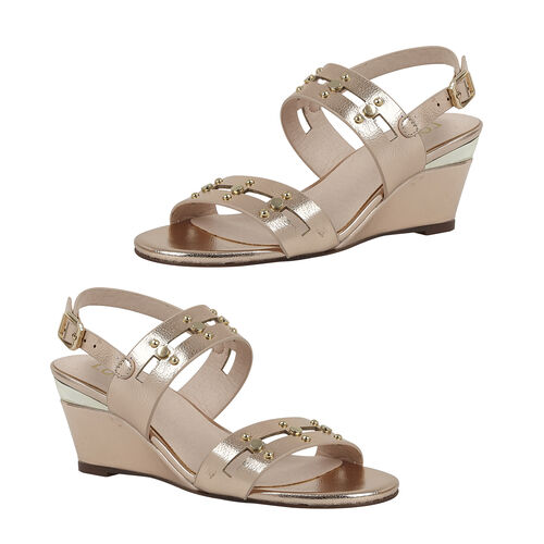 Lotus Alice Wedge Sandals (Size 4) - Rose Gold
