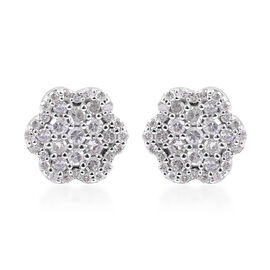 9K White Gold SGL Certified Diamond (Rnd) (I3/G-H) Floral Stud Earrings (with Push Back) 0.50 Ct.