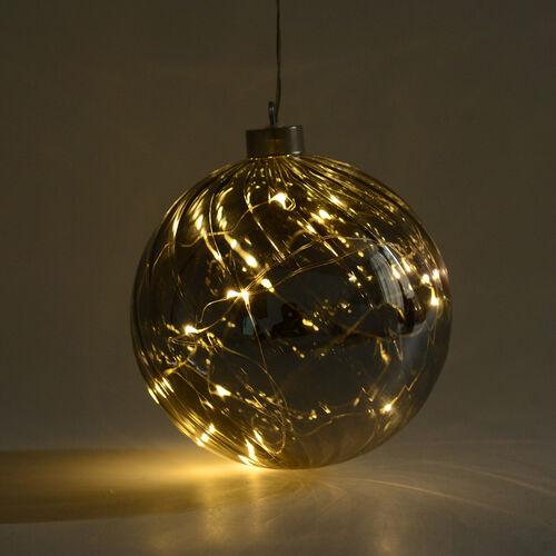 Christmas Decor - Translucent LED Bauble Light (Size 15 Cm) - Smokey Grey