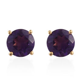 Amethyst (Rnd) Stud Earrings (with Push Back) in 14K Gold Overlay Sterling Silver 2.250 Ct.