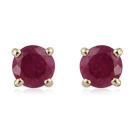 9K Yellow Gold AAA  African Ruby (Rnd) Stud Earrings (With Push Back) 0.750 Ct.