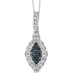 Blue and White Diamond (Rnd) Pendant With Chain in Platinum Overlay with Blue Plating Sterling Silve