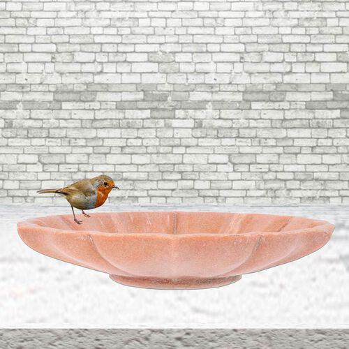 NAKKASHI Hand Carved Floral-Design Marble Bird Feeder/Bath Bowl - Pink
