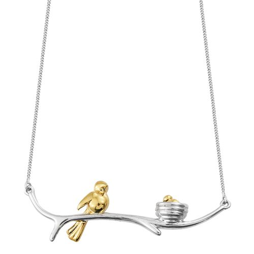 Mother Bird with Nest Necklace in Platinum and Gold Plated Silver 18 Inch 6.80 Gms
