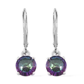 Coated Mystic Topaz (3.25 Ct) Platinum Overlay Sterling Silver Earring  3.000  Ct.