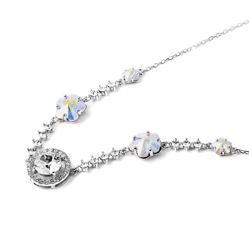J Francis - Crystal from Swarovski White Crystal (Rnd), Simulated Mystic White Crystal Floral Necklace (Size 18 with 2 inch Extender) in Rhodium Overlay Sterling Silver, Silver wt 5.23 Gms
