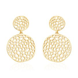 RACHEL GALLEY Lattice Disc Drop Earrings with Push Back in Gold Plated Silver 13.02 Grams