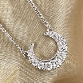 Sundays Child - Moissanite Crescent Moon Pendant with Chain (Size 18) in Platinum Overlay Sterling Silver 1.00 Ct.