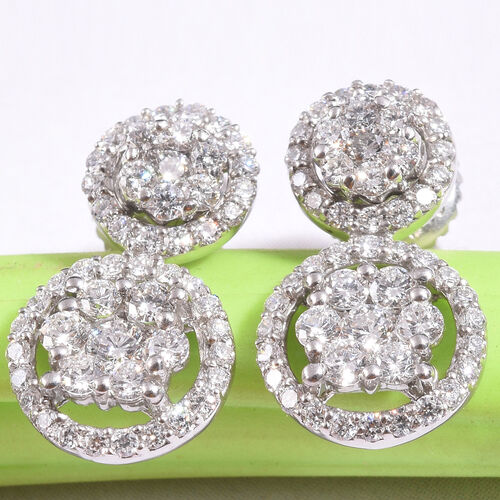 RHAPSODY 950 Platinum IGI Certified Diamond (VS/ E-F) Detachable Earrings (with Screw Back) 1.00 Ct.