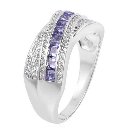 Tanzanite (Sqr), Natural Cambodian White Zircon Ring in Platinum Overlay Sterling Silver 1.280 Ct. Silver wt 6.13 Gms.