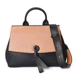 Limited Edition- 100% Genuine Leather Tan and Black Colour Tote Bag with Detachable Shoulder Strap (
