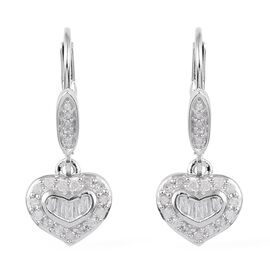 GP Diamond Heart Drop Earrings in Platinum Plated Sterling Silver With Lever Back