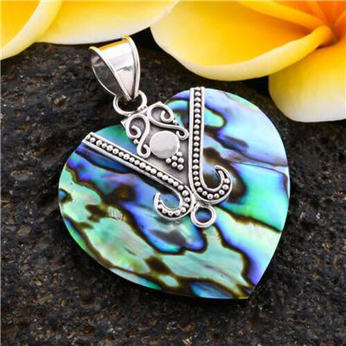 Royal Bali Collection - Abalone Shell Heart Pendant in Sterling Silver, Silver wt 3.50 Gms