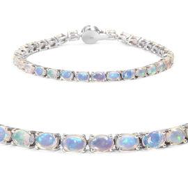 Wegeltena Ethiopian  Opal (Ovl), Diamond Bracelet (Size 8) in Platinum Overlay Sterling Silver 9.250 Ct, Silver wt 10.00 Gms