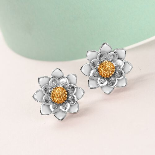 Platinum Overlay Sterling Silver Floral Stud Earrings (with Push Back)