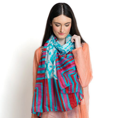 100% Mulberry Silk Multi Colour Geometrical Pattern Turquoise Colour Scarf (Size 180x100 Cm)