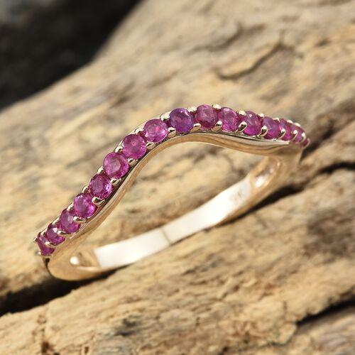 0.50 Carat AA Burmese Ruby Wishbone Ring in 9K Gold