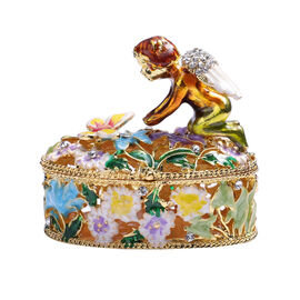 Multi Austrian Crystal Studded Angel Theme Trinket Box