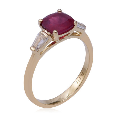 9K Yellow Gold AA African Ruby (Cush), Natural Cambodian White Zircon Ring 2.930 Ct.