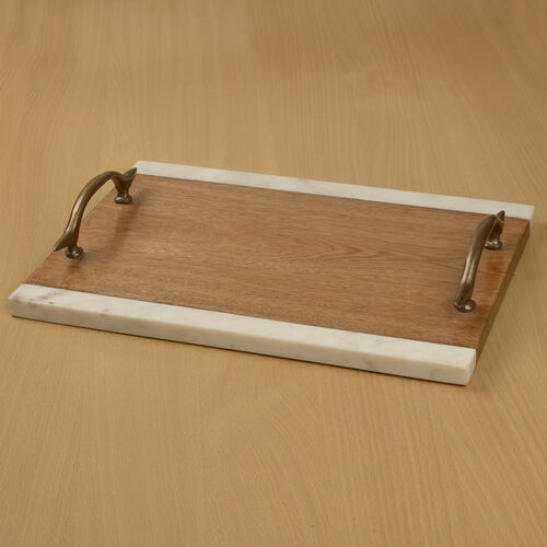 Rectangular Shape Wooden Tray with Marble Edges and Brass Handle (Size 35.5X26 Cm)