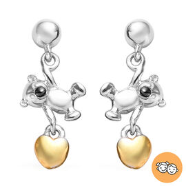 Teddy Earrings for Kids in Platinum and Gold Plated Silver