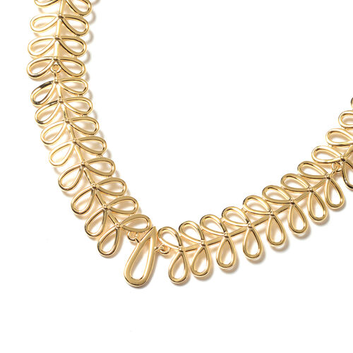 LucyQ Drop Necklace (Size 16 with 4 inch Extender) in Yellow Gold Overlay Sterling Silver