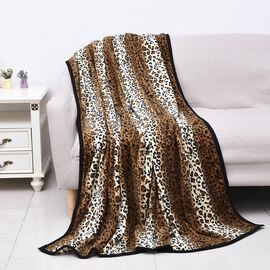 Super Soft Microfibre Plush Blanket Leopard Print (Size 150x200 Cm) - Black, Brown and Off-White Col
