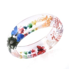 Pressed Flower Multi Colour Butterfly Bangle (Size 7.5)