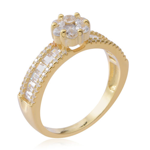 ELANZA Simulated White Diamond (Rnd) Ring in 14K Gold Overlay Sterling Silver