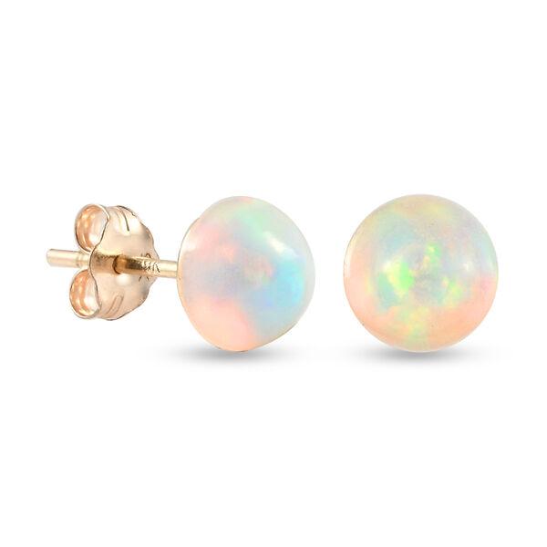 1.10 Ct Ethiopian Welo Opal Solitaire Stud Earrings in 9K Gold