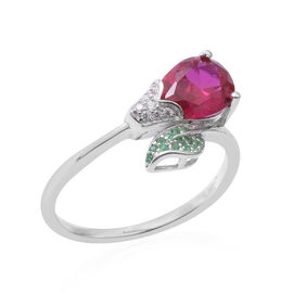 ELANZA Simulated Ruby (Pear),Simulated Emerald and Diamond Ring in Sterling Silver