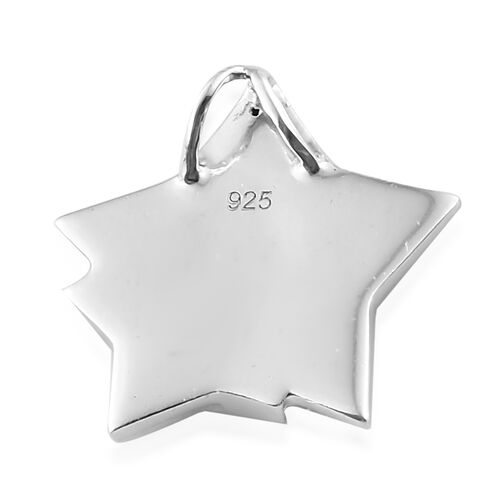 Blue and White Diamond (Rnd) Star Pendant in Platinum Overlay with Blue Plating Sterling Silver