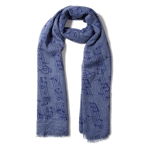 Navy and Dark Grey Colour Musical Note Pattern Scarf (Size 178x100 Cm)