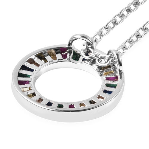 3 Piece Set - Simulated Rainbow Sapphire Ring and Pendant with Chain (Size 20 with 2.5 inch Extender) in Silver Tone