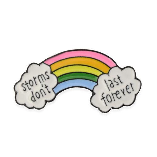 (Option- 2) Multi Colour Enamelled Rainbow with Cloud Brooch