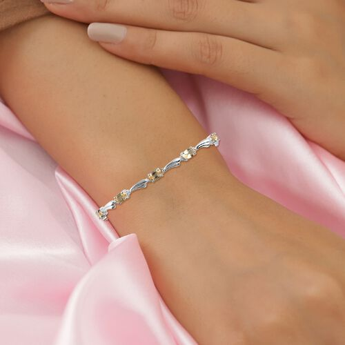 Citrine Bracelet (Size 6.5 with 2 inch Extender) with Lobster Clasp in Sterling Silver 3.36 Ct.