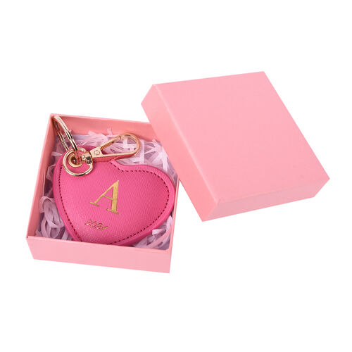 Pink Genuine Leather Heart Shaped Initial A Key Chain (7x6cm)