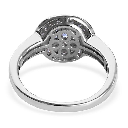 Burmese Blue Sapphire Floral Cluster Ring in Platinum Overlay Sterling Silver 1.08 Ct.