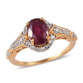 African Ruby and Natural Cambodian Zircon Ring in 14K Gold Overlay Sterling Silver 1.98 Ct.