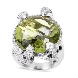 Simulated Peridot (Rnd), Simulated Black and White Diamond Serpent Ring in Silver Plated