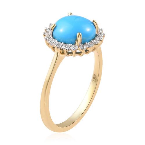 ILIANA 18K Yellow Gold AAA Arizona Sleeping Beauty Turquoise and Diamond (SI/G-H) Ring 2.60 Ct.