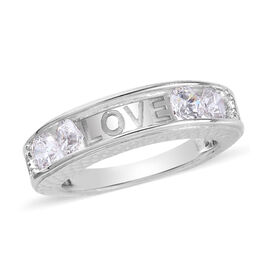 J Francis Platinum Overlay Sterling Silver Band Ring made with SWAROVSKI ZIRCONIA 1.82 Ct.