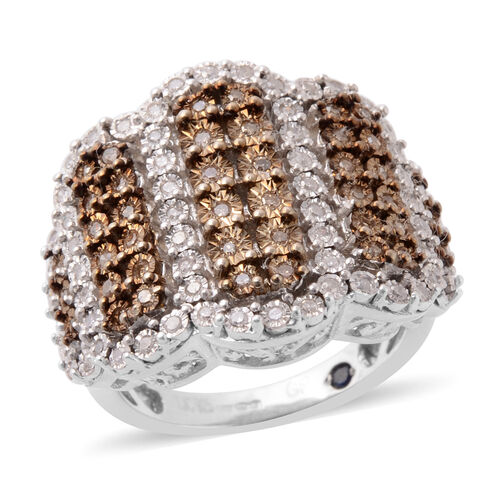 GP 0.50 Ct White and Champagne Diamond and Blue Sapphire Cluster Ring in Platinum Plated Silver